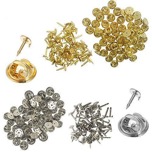 YuCool Paquete de 120 embragues de mariposa con alfileres en blanco, tachuelas de repuesto para manualidades y fabricación de joyas (60 plata y 60 oro)