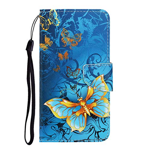 Nadoli für iPhone 11 Hülle,Gold Schmetterling Muster PU Leder Magnetisch Flip Brieftasche mit Handschlaufe Kartenslot Ständer Klapphülle für iPhone 11