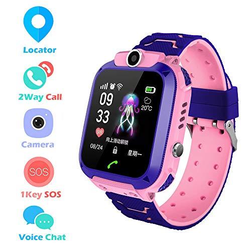 HD-aanraakscherm IP67 Waterdicht Kinderen Smartwatch LBS-locatiemonitor SOS-spraakoproep met camera (Roze)