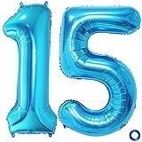 JKJF Globos con número 15, color azul, tamaño XXXL, 15, para cumpleaños, bodas, aniversarios, fiestas, decoración
