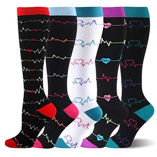 Kompressionsstrümpfe Sneaker Socken Herren Damen Laufsocken Sprunggelenkschutz und Mittelfußstütze für Laufen Radfahren Erholung Blutzirkulation, 5 Paar- D Mehrfarbig, L-XL