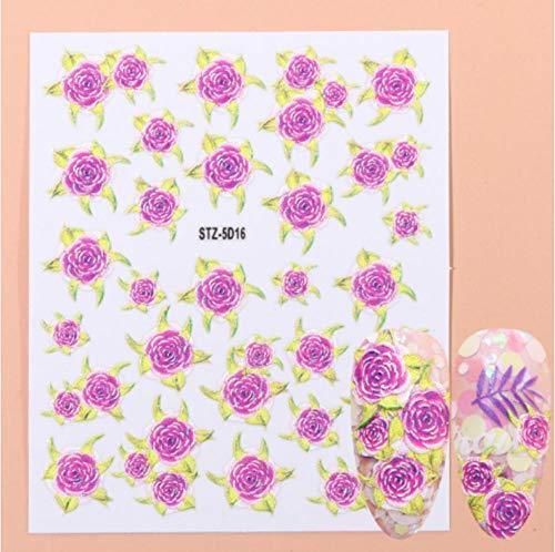 JSIYU Stickers Ongle Fleurs en Relief 3D Nail Art Autocollants Stickers Feuille Rose Curseurs Gravés Designs Feuilles Décors Acryliques A-Y01