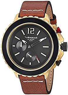 Vestal Yacht Stainless Steel Japanese-Quartz Watch with Leather Strap, Brown, 20 (Model: YAT44C03.CVBK