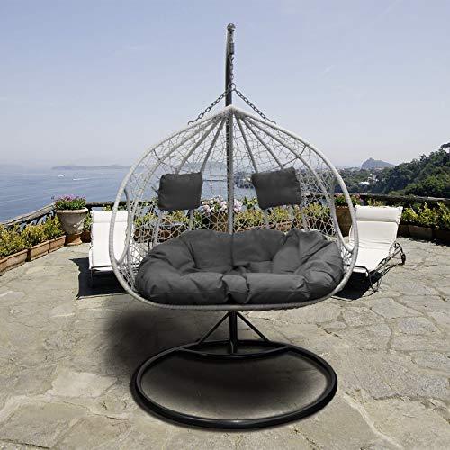 Trendyshop365 XL Polyrattan Outdoor Hängesessel mit Gestell inklusive Polster und Kissen Hängeliege Hängestuhl Garten - 2