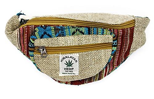Riñonera Hippie de cáñamo. Bolso de Cadera Unisex. 3 Bolsillos con Cremallera. Estilo Rasta Etnico Tribal Urbano Casual (Multicolor)