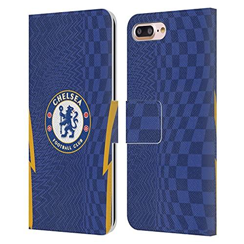 Head Case Designs Licenciado Oficialmente Chelsea Football Club Home 2021/22 Kit Carcasa de Cuero Tipo Libro Compatible con Apple iPhone 7 Plus/iPhone 8 Plus