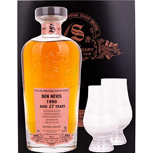 Signatory Vintage Signatory Vintage BEN NEVIS 27 Years Old 30th ANNIVERSARY 1990 59,4% Vol. 0,7l in Holzkiste with 2 glasses - 700 ml