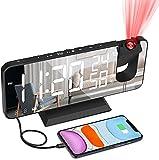 Sveglia con proiezione con Rotazione di 180 °- Sveglia digitale da Comodino con radio,Porta USB,Schermo LED a specchio da 18,8 cm , 4 Livelli di Luminosità Doppio Allarme, Snooze, 12/24H