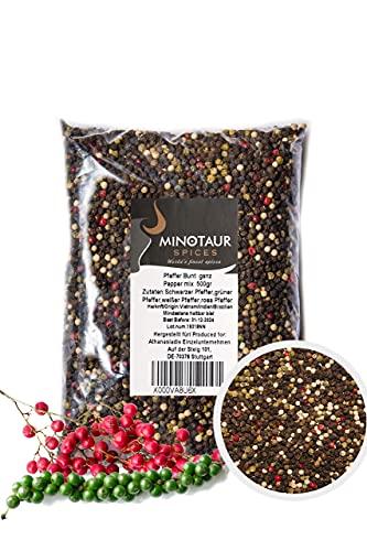 Minotaur Spices | Pepe colorato Intero | 2 x 500g (1 kg) | Pepe colorato da grani Neri, Bianchi, Verdi e Rosa