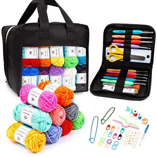 40 Acrylic Yarn Skeins with Crochet Hook Kit, 1600 Yards Crochet Yarn with Crochet Accessories Kit Including Ergonomic Hooks, Scissors, Knitting Needles, Stitch Markers & More