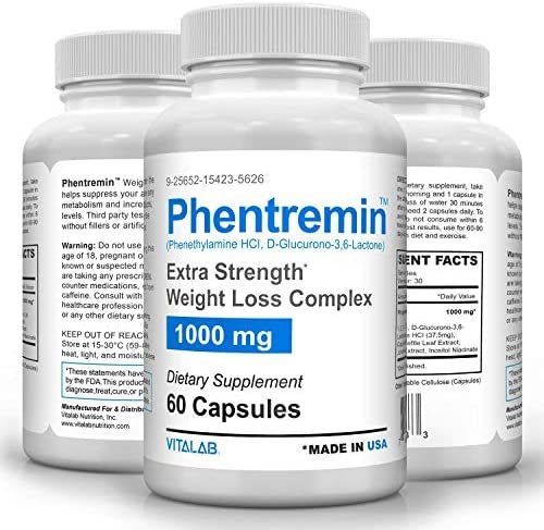 Phentremin1000mg Extra Strength Weight Loss Complex Best Appetite Suppressant 37 5 60 Capsules product image
