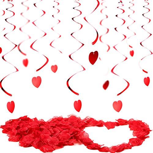 Valentinstag Dekorationen 30 Stück Hängende Herz Wirbelt und 200 Zählungen Künstliche Rote Rosenblätter Hängende Dekorationen für die Decke Jubiläum Hochzeit Geburtstag Brautparty Bachelorette Party