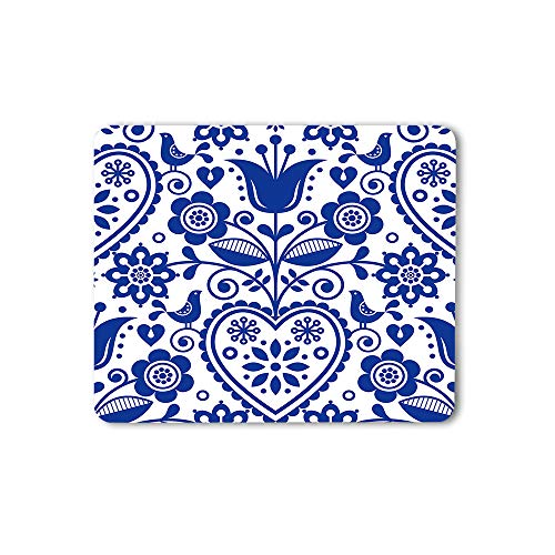 Moslion Floral Mouse Pad Bohemian Style Scandinavian Folk Art Navy Blue Gaming Mouse Mat Non-Slip Rubber Base Thick Mousepad for Laptop Computer PC 9.5x7.9 Inch