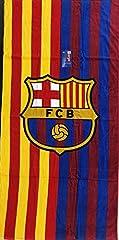 "FC Barcelona beach towel two tone 30""X60"" cotton beach towel Towel with team logo Official fc Barcelona product Machine wash cold"