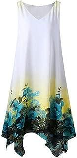 KYLEON Women Chiffon Summer Tank Dress Boho Floral Print Sleeveless Casual Shift Dress Loose Swing Tunic T Shirts Sundress