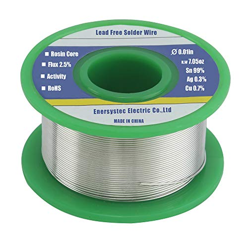 Extra Thin Solder Wire Thin Gauge Solder Rosin Flux Core Tiny Solder Electronics Soldering Fine Solder Lead Free Electrical Soldering 0.01in 0.3mm 7.05oz 200g Sn99 Ag0.3 Cu0.7