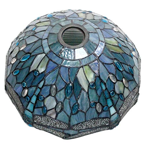 Tiffany Lamp Shade Replacement W12H6 Inch Sea Blue Stained Glass Dragonfly Lampshade Only Center Circle Hole 4.2CM Fit for Floor Arch Lamp Torchiere Lamp Ceiling Fixture Pendant Light S147 WERFACTORY