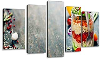 Cucumber, Quinoa, Tomato, Onion, Carrot and Mint Salad red Foods and Wall Decoration Print Photo on Canvas Modern Photography Home Decor Modern Canvas Painting Wall Art 5 Piece