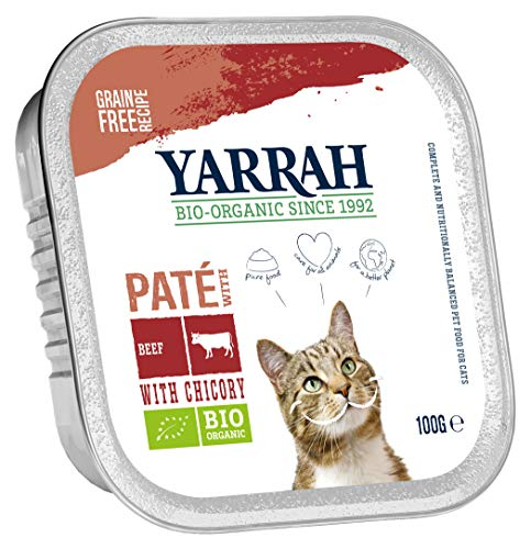 Yarrah Lot de 16 boîtes de 100 g de Nourriture Bio pour Chat, au bœuf et à la chicorée