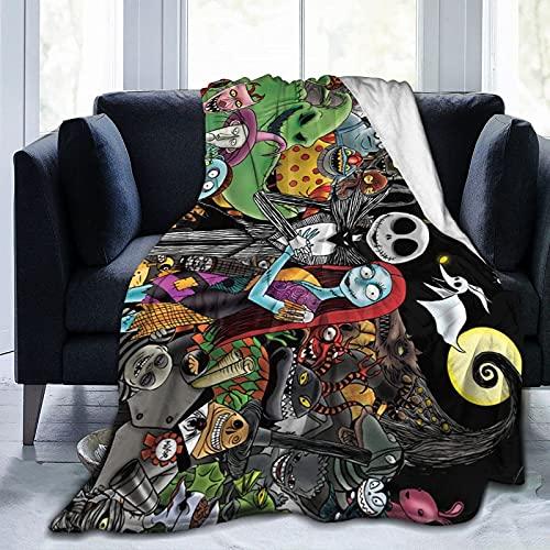 Manta de forro polar de Nightmare Before Christmas Jack Skellington, manta suave y cálida para sofá, manta de cama para habitación de los niños, una gran decoración de regalo de 156 x 150 cm