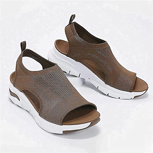 Summer Thick-Soled Soft-Soled Casual Sports Women s Shoes, Flat Mesh Flying Woven Fish Mouth Shoes Women (42,Brown)