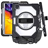 SHUICHEMF iPad pro 11 inch case 2020 & 2018 Support Wireless Apple Pencil Charging+ 360°Rotating Kickstand + Handle +Shoulder Strap [Military Grade 3-Layer Shockproof Protection] - Clear