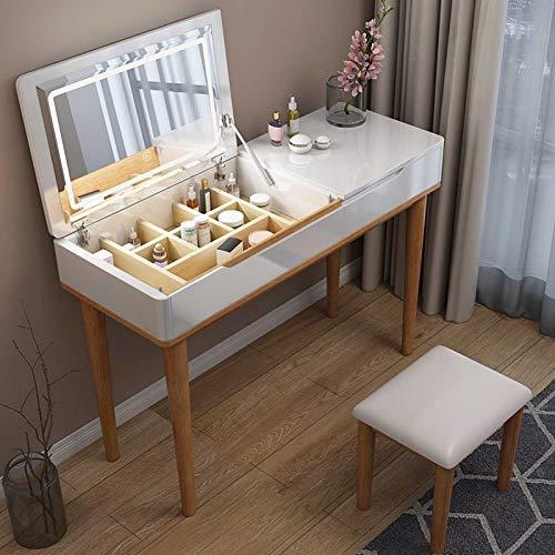 MYAOU Klappbarer Schminktisch mit LED-Lichtern Spiegel und Stuhl Mädchen Schminktisch mit Kosmetikschubladen & Schmuckaufbewahrung Massivholz 2 IN 1 Schreibtisch