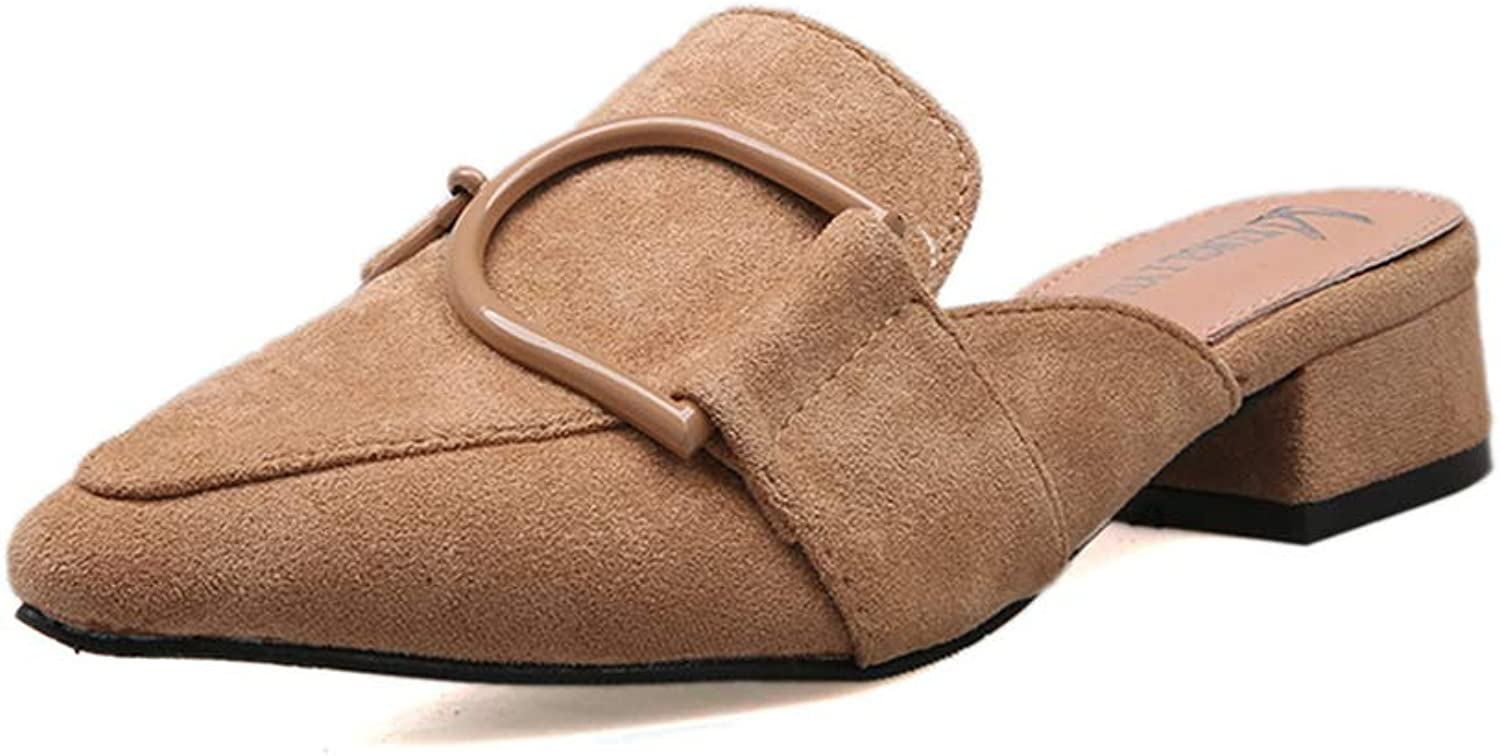 Brilliant sun Women's Suede Slip on Loafers Low Heels Casual Daily Mule