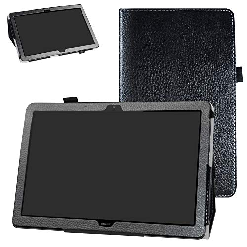 MediaPad T5 10-Inch 2018 Case,Bige PU Leather Folio 2-Folding Stand Cover for Huawei MediaPad T5 10-Inch 2018 Tablet,Black
