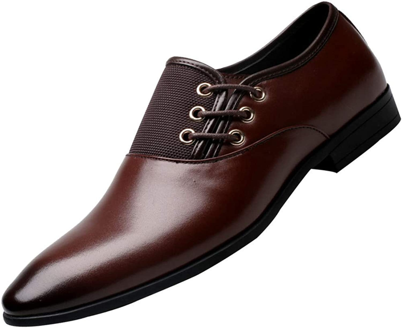 FuweiEncore Men's Derby shoes Business Dress Breathable shoes Wedding shoes (color   Brown, Size   46EU)
