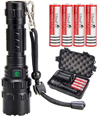 UltraFire - Torcia a LED con 4 batterie 18650 e caricatore USB, 1000 lumen, set di 5 modalità di luce ricaricabili USB, confezione regalo