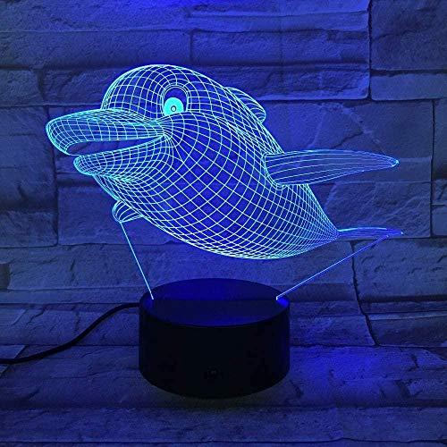 3D-Lampe, niedliches Delfin-Wal, 3D-Acryl-Nachtlicht, USB-Nachtlicht, Tischleuchte, Schlafzimmerdekoration, Kindergeschenk