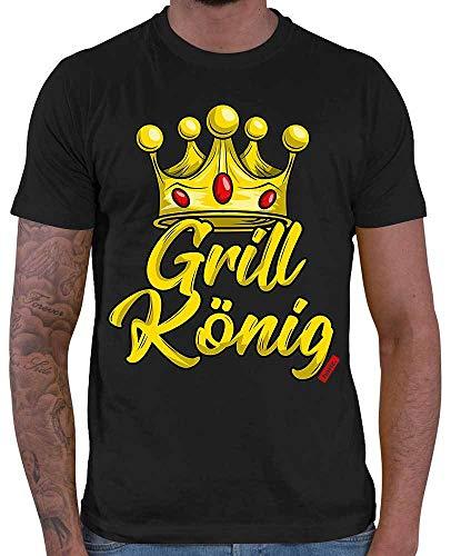 """Hariz - Maglietta da uomo con scritta \""""Grill König Grillen Plus\"""", in confezione regalo Nero M"""