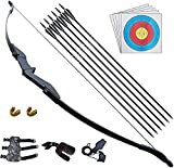 D&Q Recurve Bow and Arrow Archery Set for Adult Junior Beginner Outdoor Training Target Practice Toy 30 40Lbs Takedown Bow Kit with Arrows Target Faces Left Right Hand (40lbs)