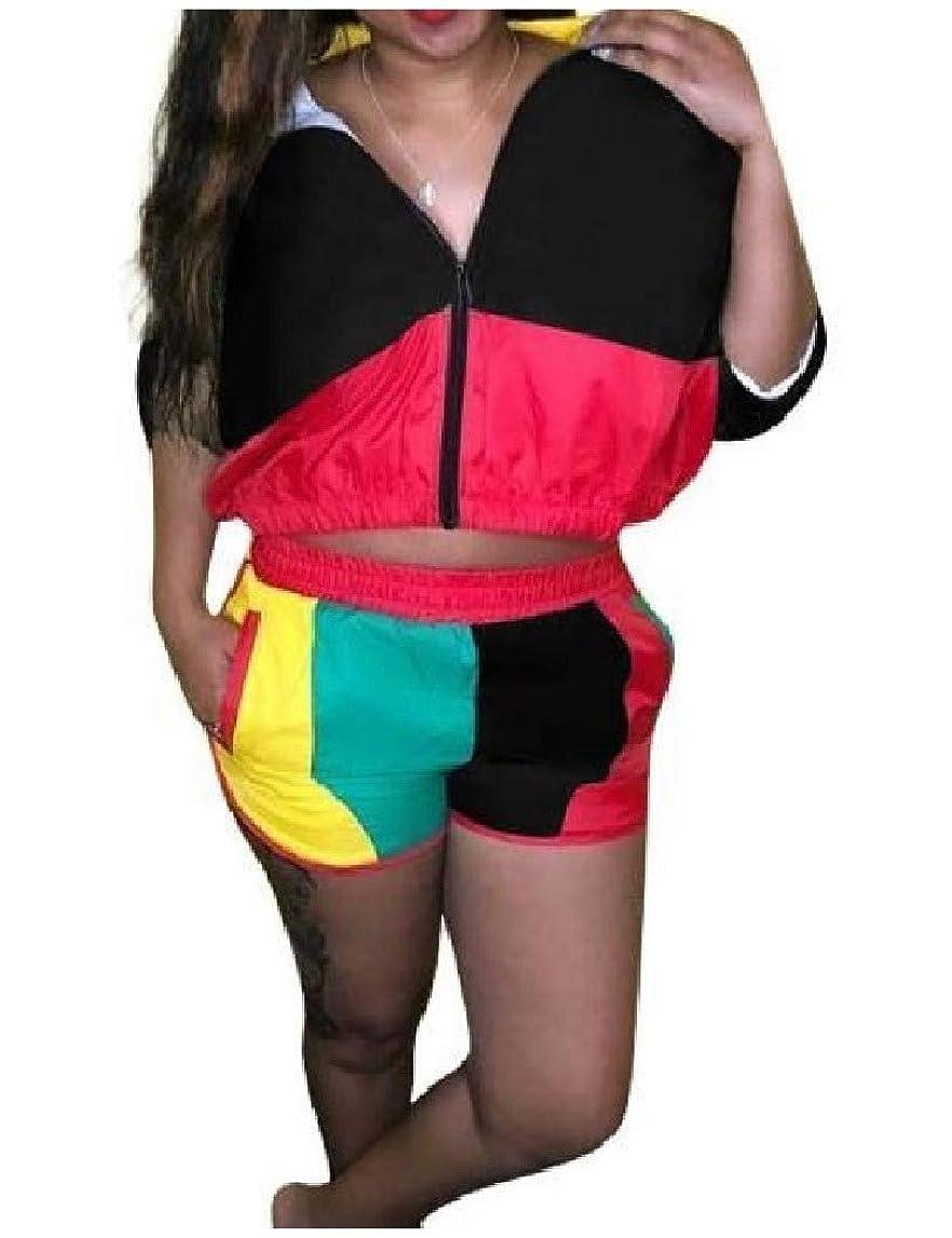 陪審順応性のあるハンカチNicellyer 女性の動きの色のブロックを縫うガードのトップとショーツの衣装