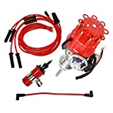 A-Team Performance Ready 2 Run Distributor, 8.0mm Spark Plug Wires, 45k Volts Canister Coil, and Coil Wire Compatible with Chrysler Dodge Mopar Big Block 413, 426, 440 R2R Red Cap