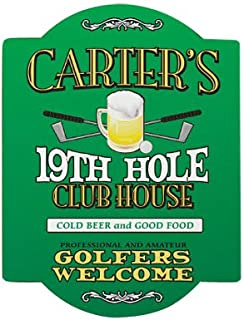 GiftsForYouNow Personalized 19th Hole Golf Sign, 11.5