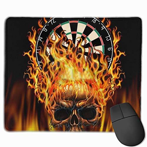 Gaming Mouse Pad Flaming Skull Dartscheibe Mousepad Rechteck Rutschfeste Gummi Mauspads Matte für Computer Laptop Bürozubehör Schreibtisch Dekor