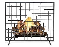 スパーク暖炉スクリーン、ベニヤアイアンファイヤースクリーン、99×78cm、リビングルームマンテルピース、ベッドルームデコレーション