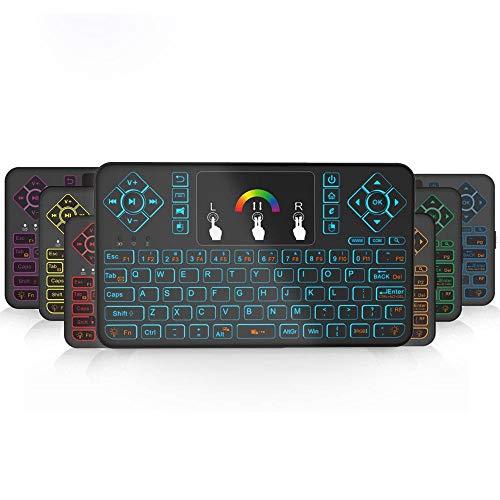 Y-hm Sensación cómoda 80 Llaves de luz de retroiluminación Colorida Miniflight Teclado Sintonizador Airmouse con Almohadilla táctil Diseño portátil