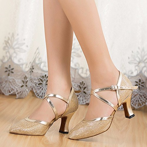 Masocking@ Damen Tanzschuhe Sandalen Soft Close Zehen,Goldene 39