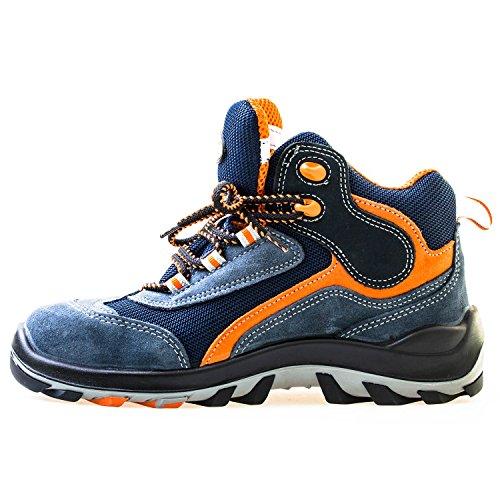 Jalatte® Sicherheitsstiefel S1P LOG304 Blau Herren - sehr leicht, durchtrittsicher, metallfrei, antistatisch, Wildleder (41)