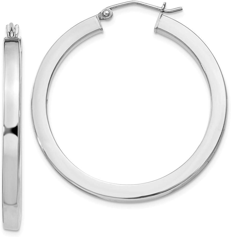 Beautiful Sterling silver 925 sterling Sterling Silver Rhodiumplated Hoop 3mm Earrings
