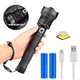 Hugomega LED Torch 2500LM XHP70.2 Super Bright Powerful Flashlight Adjustable Focus Tactical Flashlight
