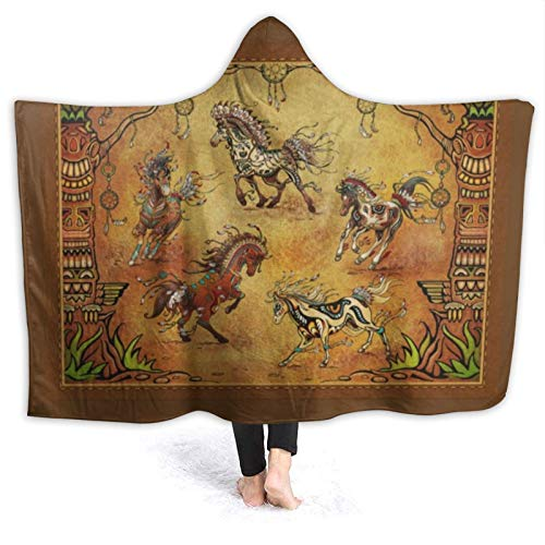 Manta con capucha de caballo occidental atrapasueños Nativo Americano Super suave franela polar mantas para sofá silla cama oficina viajes camping 80 X 60