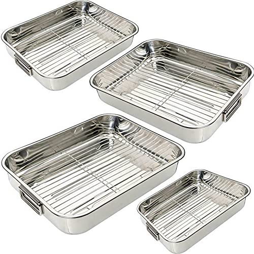 Vision4ever 4 Pcs Kitchen Stainless Steel Deep Roasting Oven Pan Grill Tray Baking Tin