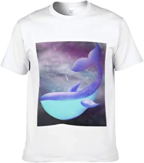 AILOVYO Short Sleeve T-Shirt for Men and Women Whale 2 Pattern Black/White Round Neck Soft Cotton Casual T Shirt