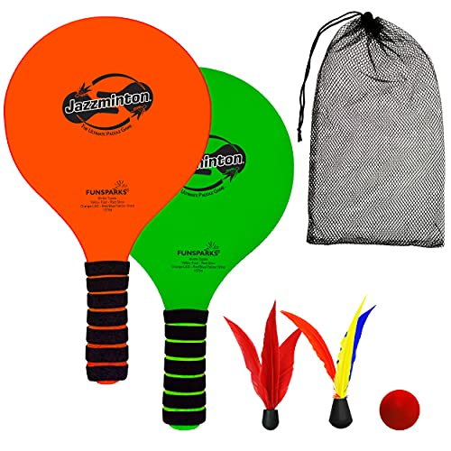 Funsparks Paddle Ball Game Jazzminton Beach for Family and Friends – 2 Paddles, 2 Birdies, 1 Ball and Carry Bag – Wind Birdie Included for Windy Days – Racquet Game for All Ages