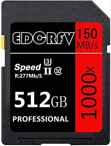 Scheda di memoria EDCRFVSD SDXC di grande capacità 512 GB 1000X UHS-I U3 Memoria SD Velocità fino a Max R277 MB S, W150 MB S per video Full HD (512 GB)