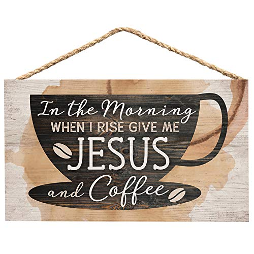 P. Graham Dunn Morning Give Me Jesus & Coffee Natural 6 x 3.5 Wood Mini Wall Hanging Plaque Sign